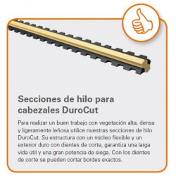 Hilo cortado 2 mm x 0,195 Bronce L dentado para Durocut